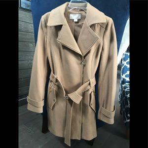 Michael Kors wool asymmetrical belted coat